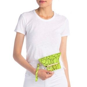 Urban Expressions Reese Neon Vegan Snake Clutch